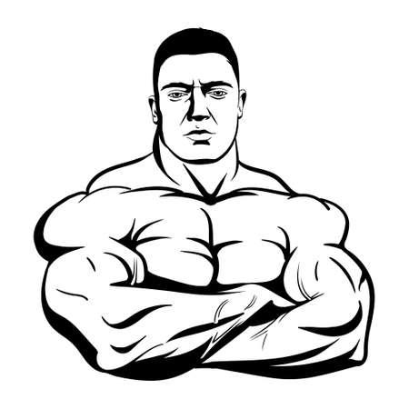 bodybuilder avec les bras croisés isolé sur fond blanc. Illustration vectorielle noir sur fond blanc