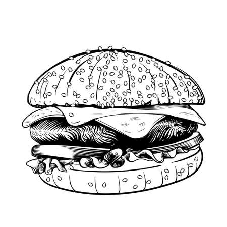 Hamburger ink sketch draw. Design vector template element. Fast food restaurant menu symbol. Burger sandwich sketch style. Big juicy cheeseburger with cheese and meat. Ilustracje wektorowe
