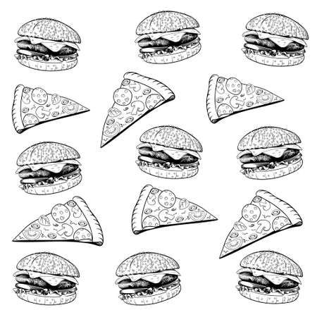 Vector vintage fast food seamless pattern. Hand drawn monochrome junk food illustration with pizza and burger. Great for menu, poster or restaurant background. Ilustração
