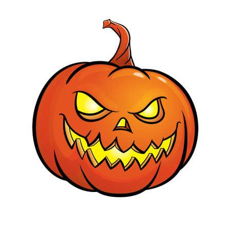 Halloween-Kürbis-Jack O isoliert auf weißem Hintergrund. Vektor-Illustration.