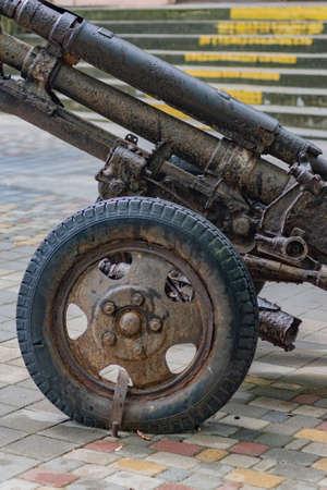 Artillery rusty gun of the Second World War