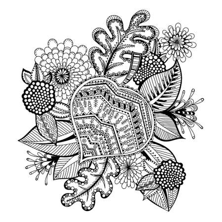 Decorative Doodle flowers in black and white for coloring book, cover or background. Vektorové ilustrace