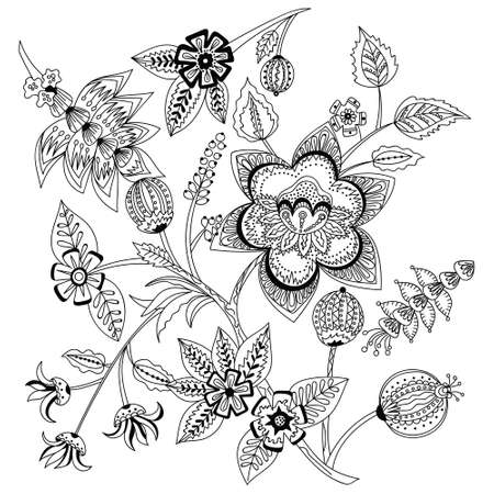 Decorative Doodle flowers in black and white for coloring book, cover or background.