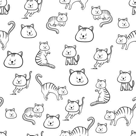 Funny cats black and white seamless pattern.