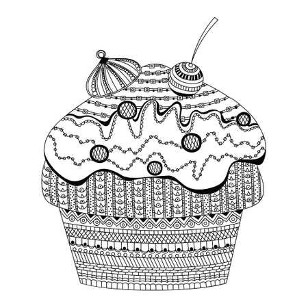 doodle vector of dessert cupcake coloring book for adults vector illustration. Anti-stress coloring for adult. style bakery products. Black and white lines cream. Lace pattern cherry