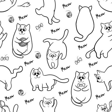 Seamless pattern with funny hand drawn cats. Animals vector illustration with adorable kittens. Tillable background for your fabric, textile design, wrapping paper, coloring book or wallpaper.
