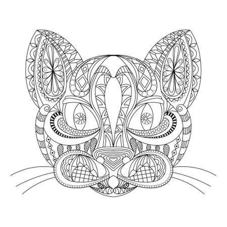 Doodle de contorno dibujado a mano de una cabeza de gato. ilustración vectorial. decorado con adornos. para colorear libro, tatuaje, cartel, camiseta. en blanco y negro. libro para colorear para adultos