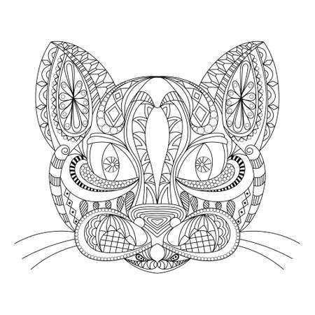 Hand drawn outline doodle of a cat head. vector illustration. decorated with ornaments. for coloring book, tattoo, poster, t-shirt. black and white. coloring book for adultsantistress