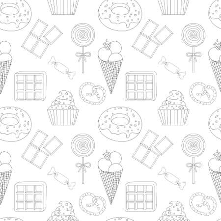 seamless pattern coloring page with cake, ice cream, cupcake, candy, donuts, chocolate,waffle, pretzel, Lollipop and other dessert. Sweet dessert coloring book. Vector isolated dessert 矢量图像