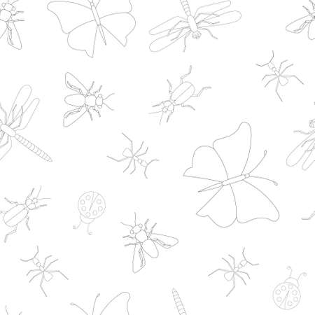 seamless insect outline pattern isolated on white background, vector. Stock fotó - 141351527