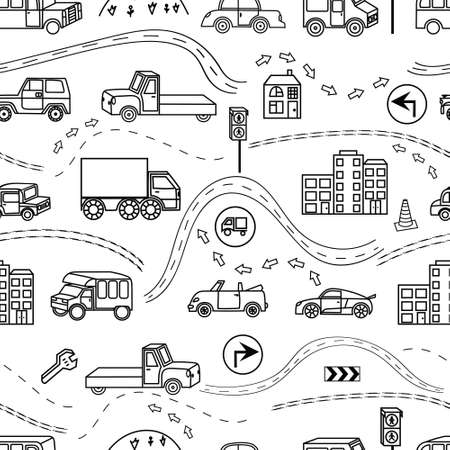 Colored seamless background with a variety of vehicles, signs, road