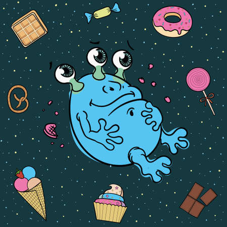 cartoon illustration of a cute alien glutton surrounded by sweets.