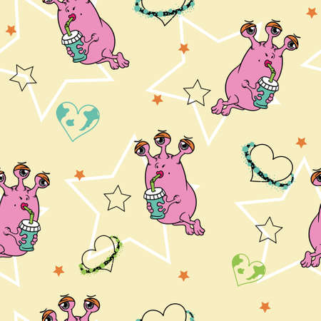 cute Flirty pink three-eyed girl alien in space with a glass, surrounded by planets, hearts and stars . seamless color vector pattern. Çizim