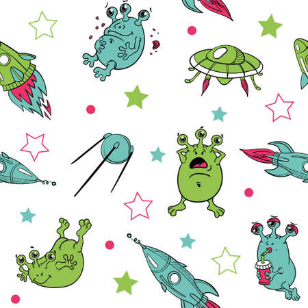 cute funny three-eyed multicolored aliens in a flying saucer , surfing in space with rockets, planets and spaceships, isolated, vector seamless pattern.