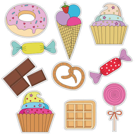 a set of colorful stickers with cake, ice cream , cupcakes, candy, donuts, chocolate, waffles, pretzel, Lollipop and other desserts. Sweet dessert . Isolated vector with cutting contour.