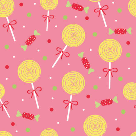 Cute yellow candy and lolipop seamless pattern on a pink background. Vector illustration.