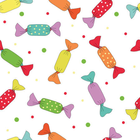 Seamless vector pattern with colorful candy. Candy for Halloween party. Vector candy for the web, for a card or for scrapbooking.