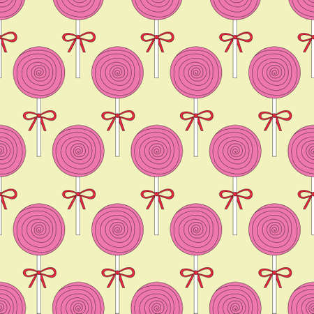 Cute pink candy and lolipop seamless pattern on a yellow background. Vector illustration.