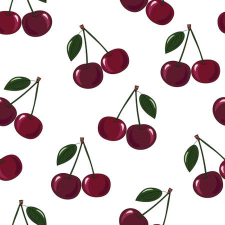 Natural delicious juicy organic berries seamless pattern with cherries, vector color illustration on white background, isolated