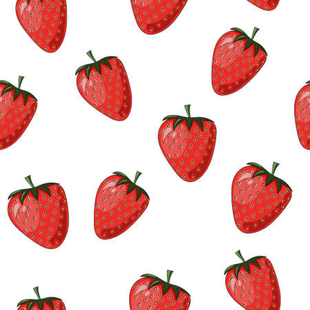 Natural delicious juicy organic berries seamless pattern with strawberries, vector color illustration on white background, isolated 向量圖像