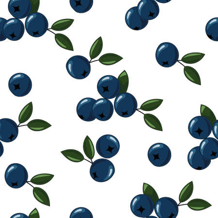 Natural delicious juicy organic berries seamless pattern with blueberries, vector color illustration on white background, isolated 向量圖像