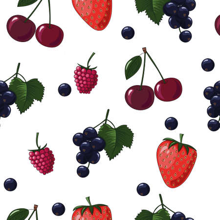 Natural delicious juicy organic berries seamless pattern with blueberries, blackcurrants, raspberries, strawberries, cherries, vector color illustration on white background, isolated 向量圖像