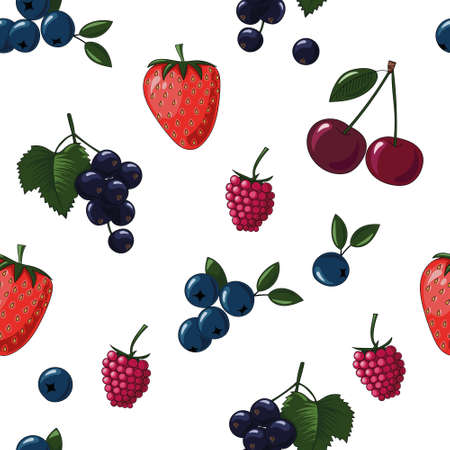 Natural delicious juicy organic berries seamless pattern with blueberries, blackcurrants, raspberries, strawberries, cherries, vector color illustration on white background, isolated Ilustração