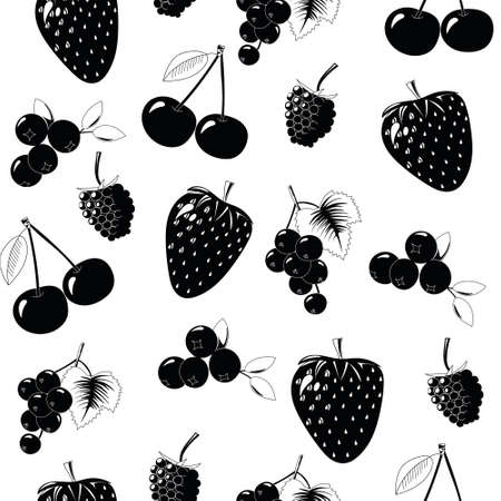 Natural delicious juicy organic berries seamless pattern with blueberries, blackcurrants, raspberries, strawberries, cherries, black vector illustration on white background, isolated.