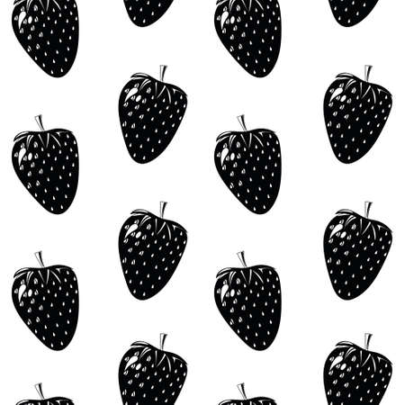 Natural delicious juicy organic berries seamless pattern with strawberries, vector black illustration on white background, isolated.