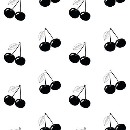 Natural delicious juicy organic berries seamless pattern with cherries, vector black illustration on white background, isolated.