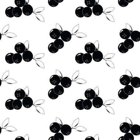 Natural delicious juicy organic berries seamless pattern with blueberries, vector black illustration on white background, isolated. 向量圖像