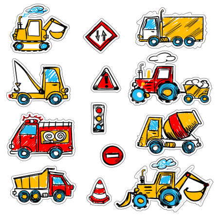 cartoon colored machines. concrete mixer, crane, dump truck , bulldozer, signs. stickers with a cutting outline, on a white isolated background