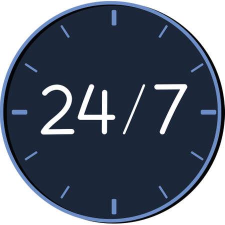 Blue 24 hour clock, 24 hour service symbol. vector illustration on a white background, isolated.