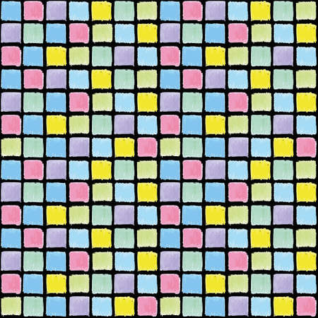Vector mosaic background, vector geometric pattern seamless, colored squares on a black background, Doodle line texture. Foto de archivo - 144336247