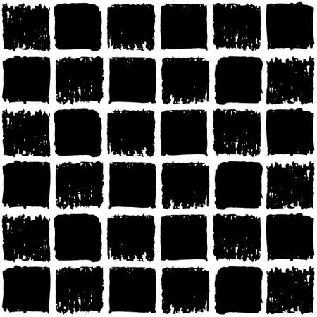 vector geometric pattern seamless, black squares on a white background, Doodle line texture. Vectores