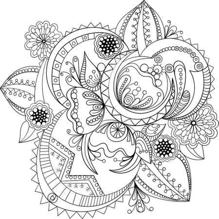 Decorative Doodle flowers in black and white for coloring book, cover or background. Hand drawn sketch for adult anti stress coloring page. vector illustration Vetores