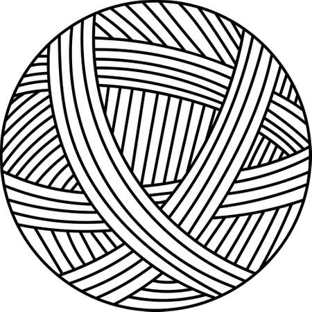 Vector illustration outline drawing or yarn ball for knitting Illusztráció