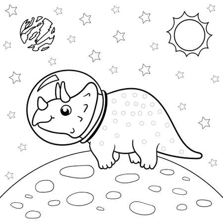 Vector illustration of dinosaur astronaut in space, Triceratops - Coloring book for children
