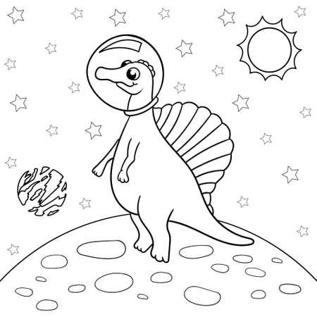Ilustración de vector de dinosaurio astronauta en el espacio, spinosaurus - Libro de colorear para niños. Ilustración de vector