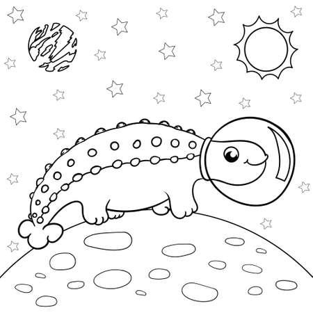 Vector illustration of dinosaur astronaut in space, Ankylosaurus - Coloring book for children 矢量图像