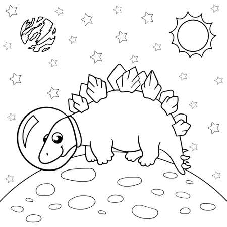 Vector illustration of dinosaur astronaut in space, stegosaurus - Coloring book for children.