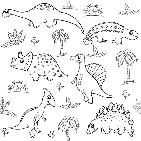 modello vettoriale senza soluzione di continuità in bianco e nero su sfondo bianco con vari dinosauri simpatici cartoni animati, palme, foglie. per carta da parati, stampa su tessuto, carta, per libri da colorare per bambini