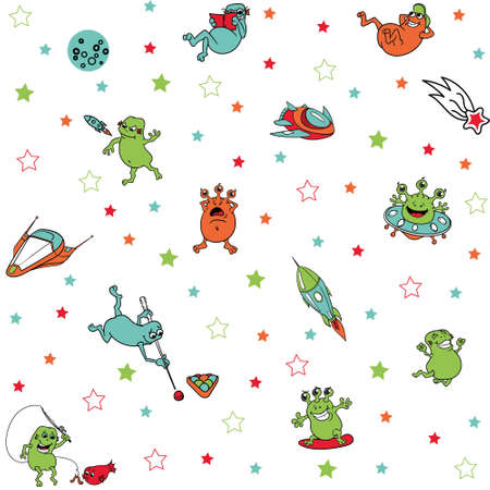 cute funny colored aliens in space with rockets, spaceships, isolated, vector seamless pattern. aliens in a flying saucer , surfing in space, reads a book, launches a rocket, playing pool, fishing.