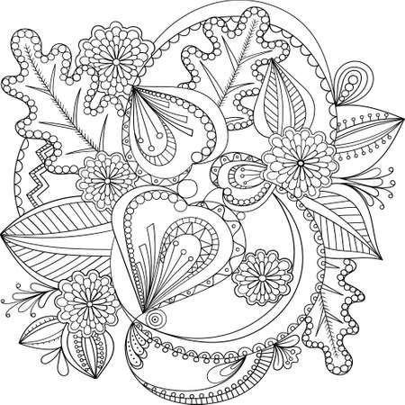 Decorative Doodle flowers in black and white for coloring book, cover or background. Hand drawn sketch for adult anti stress coloring page. vector illustration. Vetores