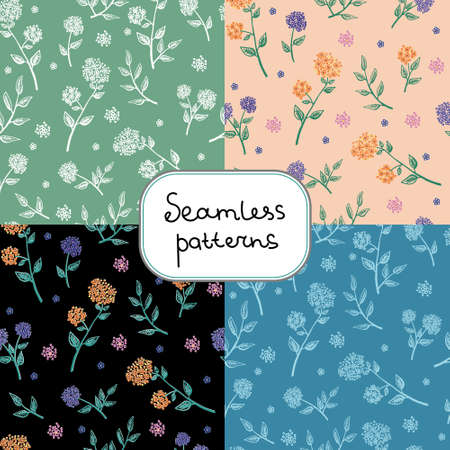 Vector illustration set of four decorative seamless patterns with twigs and flowers. floral background. Endless texture can be used for wallpaper, pattern fills, web page background, surface textures