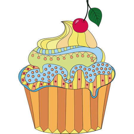 color vector cupcake on a white background. Hand drawn cupcake with cherries .