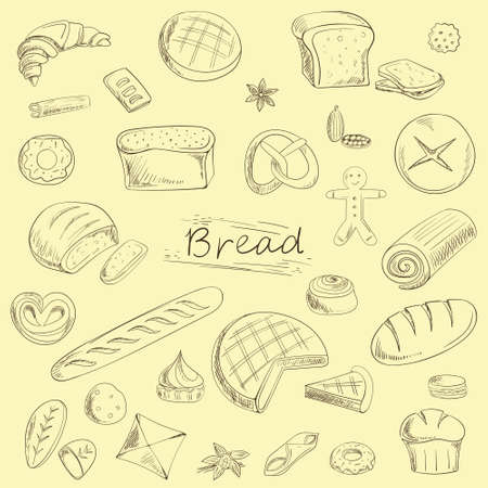 bread set sketch in brown tones, vintage Ilustrace