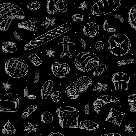 vector pattern with Doodle-style pastries. bakery design over black background vector illustration