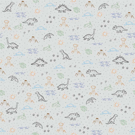 Seamless kids pattern with dinosaurs. Vector illustration, design of wild animals, reptiles, for printing on fabric, clothing, packaging paper, bedding, printing, postcards 矢量图像