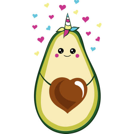 Fresh print with cartoon avocado unicorn. Funny cartoon avocado healhty food, kawaii. vector icon isolated on a white background Ilustracja